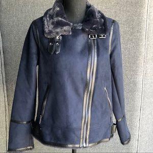 Michael Kors Faux Fur-Lined Moto Jacket - Navy